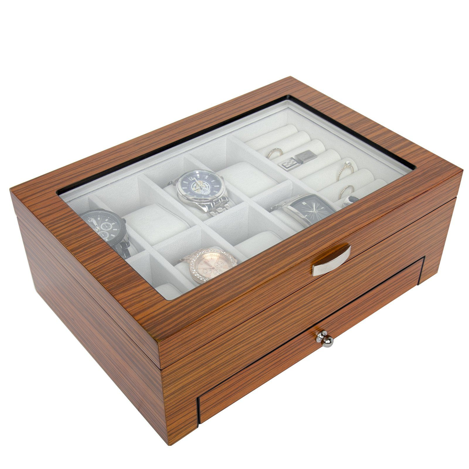 Top Quality Wood watch Storage Box Organizer with Valet Drawer  sc 1 st  Pinterest & Top Quality Wood watch Storage Box Organizer with Valet Drawer ...
