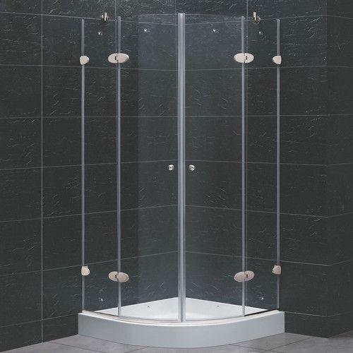 Vigo Neo Angle Round Double Door Frameless Shower Enclosure With