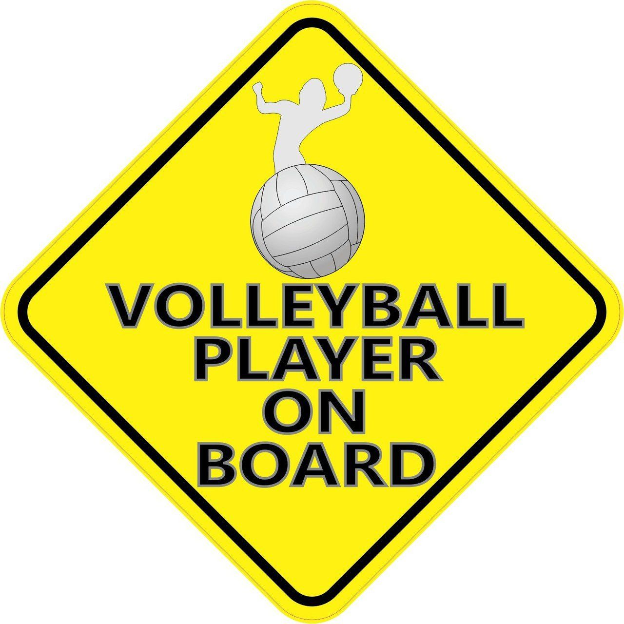5in X 5in Volleyball Player On Board Sticker Stickertalk Vinyl Bumper Stickers Volleyball Volleyball Players