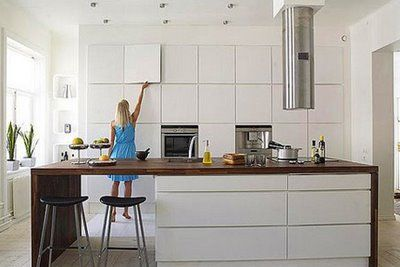Hidden Square Panel Cabinets + Wood Island Top In White Modern Kitchen