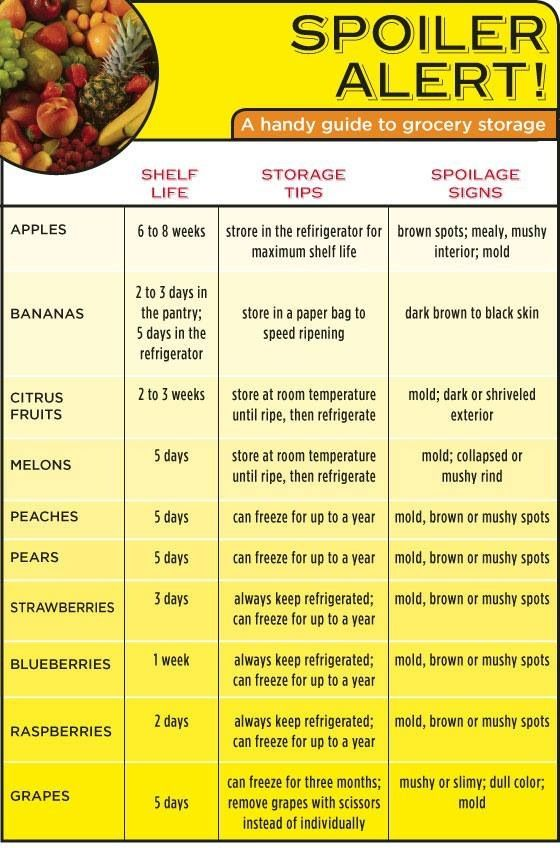 Fruit Storage Guide Food shelf life, Food shelf, Food