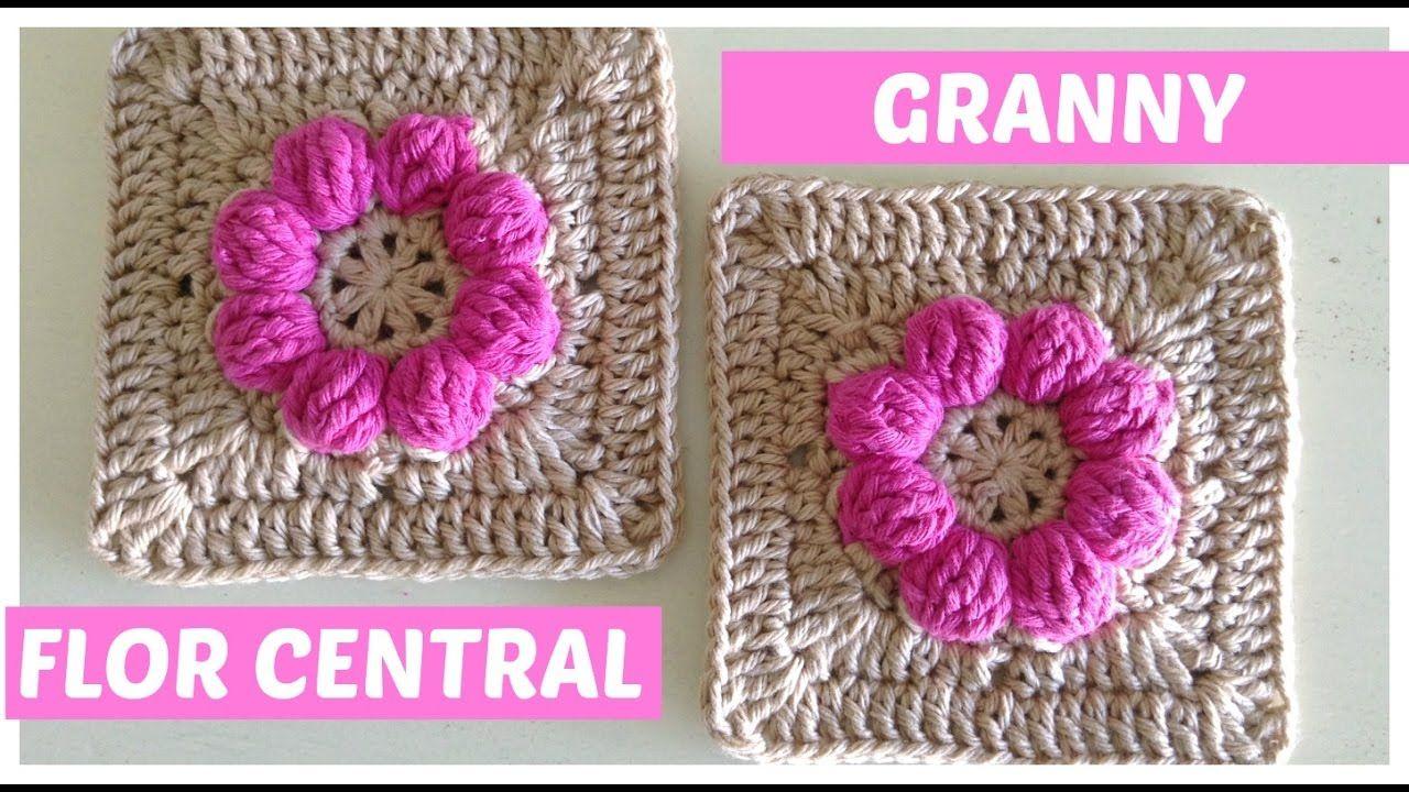 Cuadrado de la abuelita a crochet con flor central | Crochet videos ...