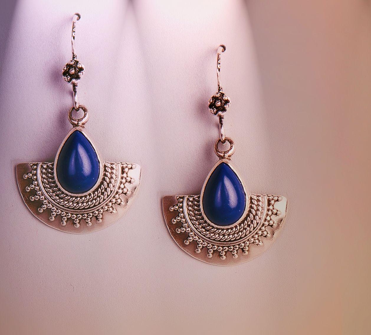 Silver Earrings Blue Accessories Women Fashion Jewellery Fabindia