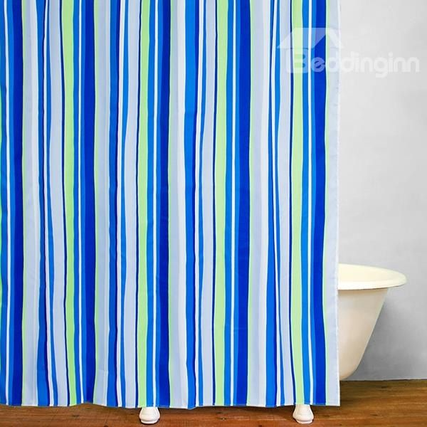 Bathroom Decor Blue And Green Stripes Shower Curtain