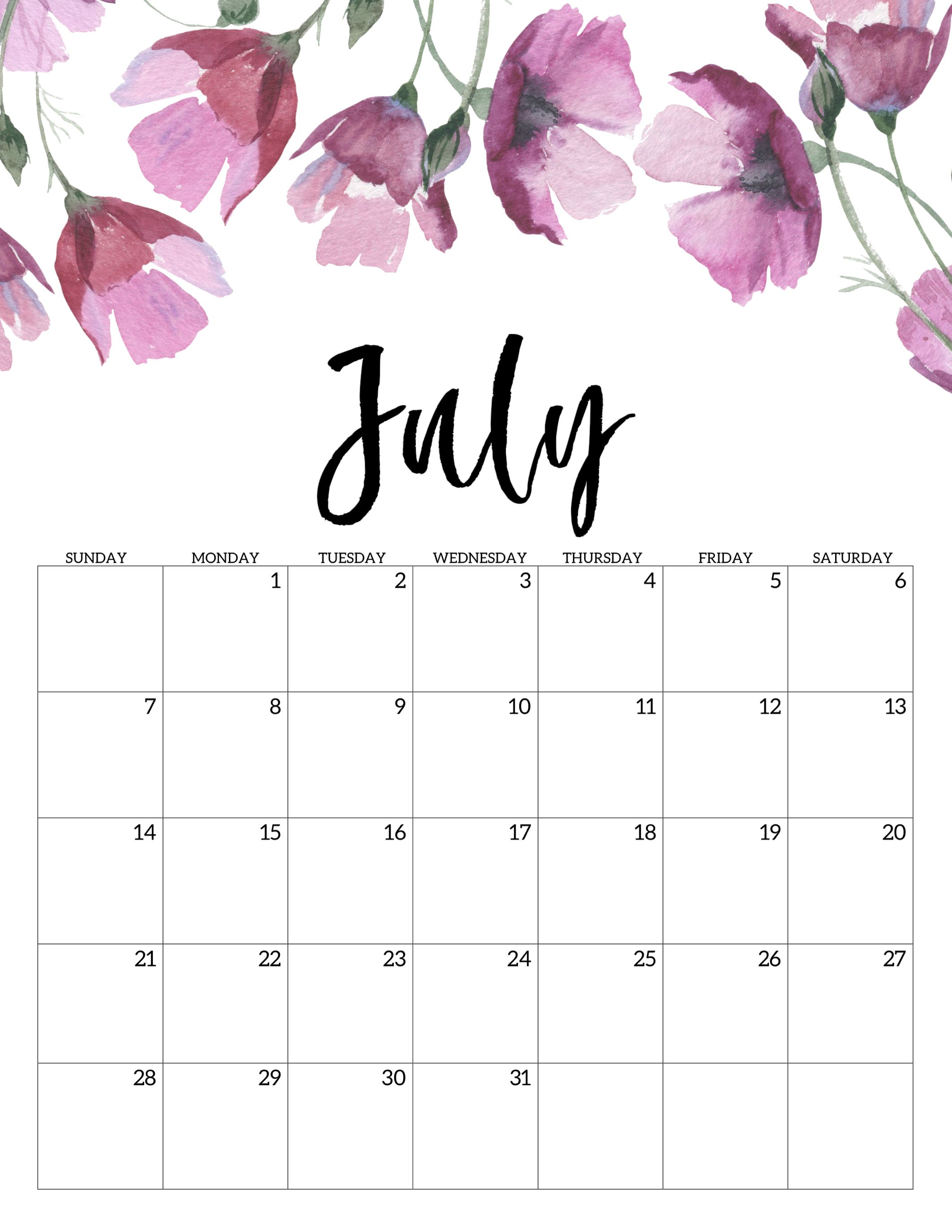 July 2019 Calendar In Pdf Word Excel Printable Template July