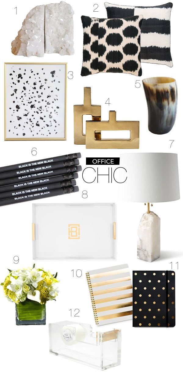 black white home office inspiration. love everything about this office inspiration board black and white gold chic home decor