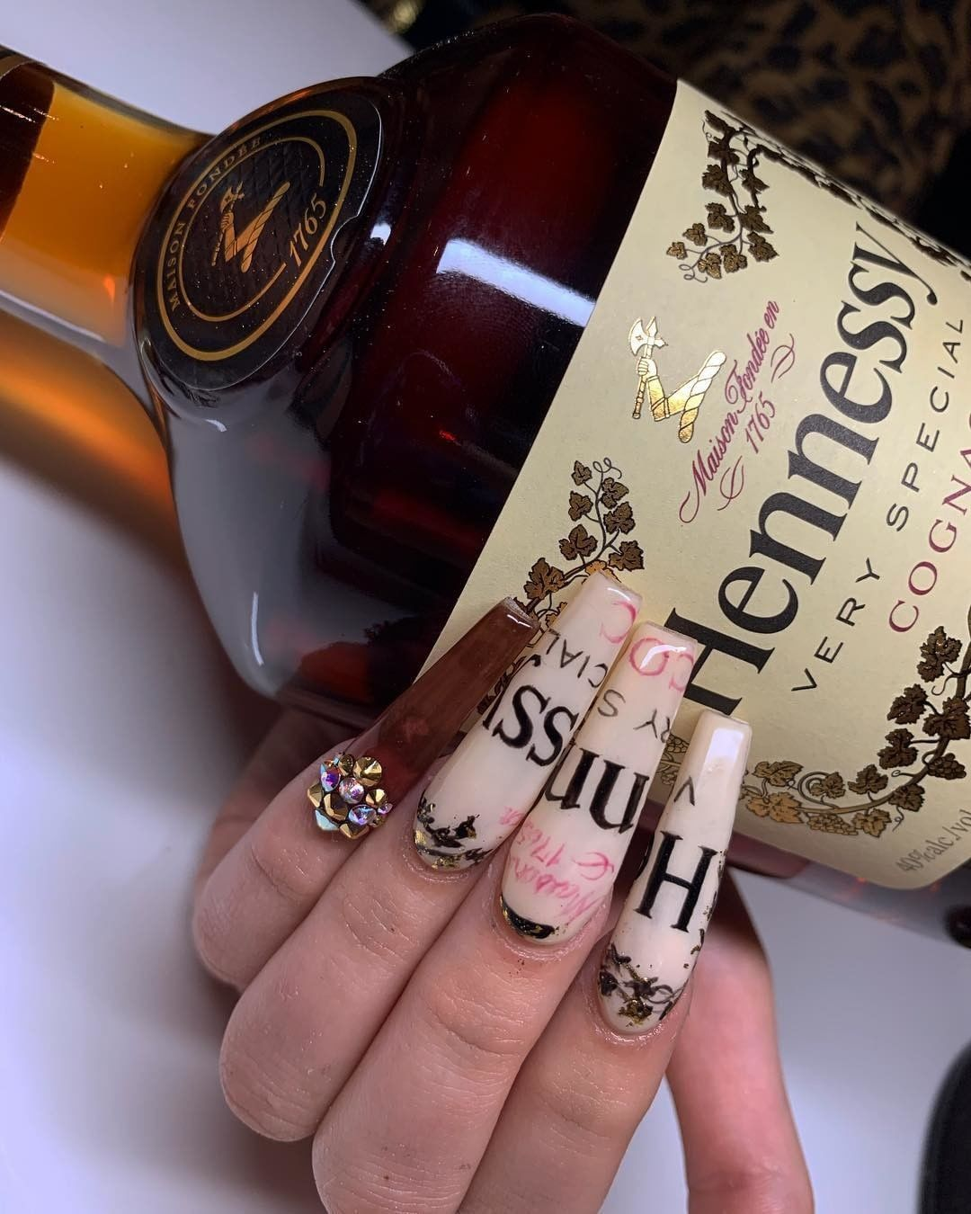 Hennessy Inspired Nails Hennessynails Nails Alcoholnails Shiny Nails Designs Nail Designs Nails