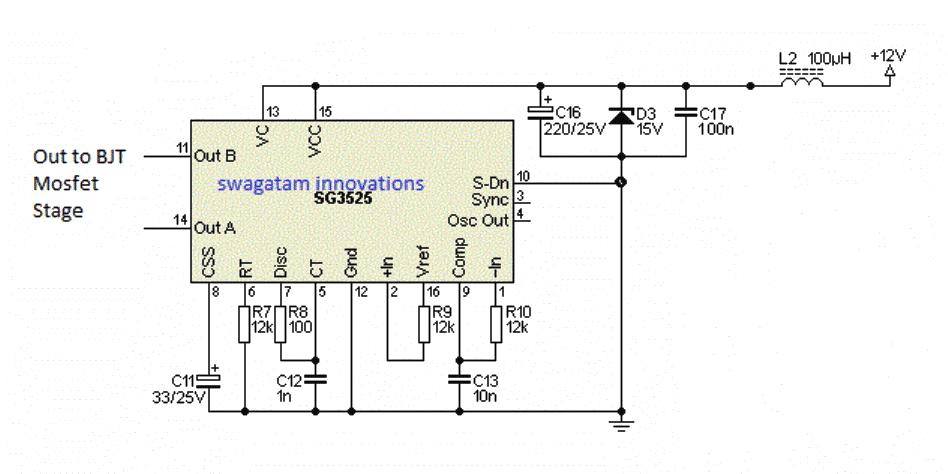 SG3525 Full Bridge Inverter using Bootstrapped BJT/Mosfet