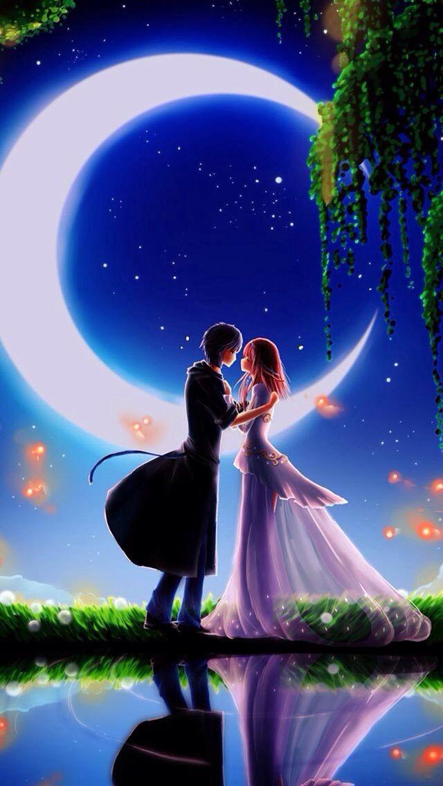 Anime Couple Wallpaper Wallpapershd Clair De Lune Peinture Photo Ecran