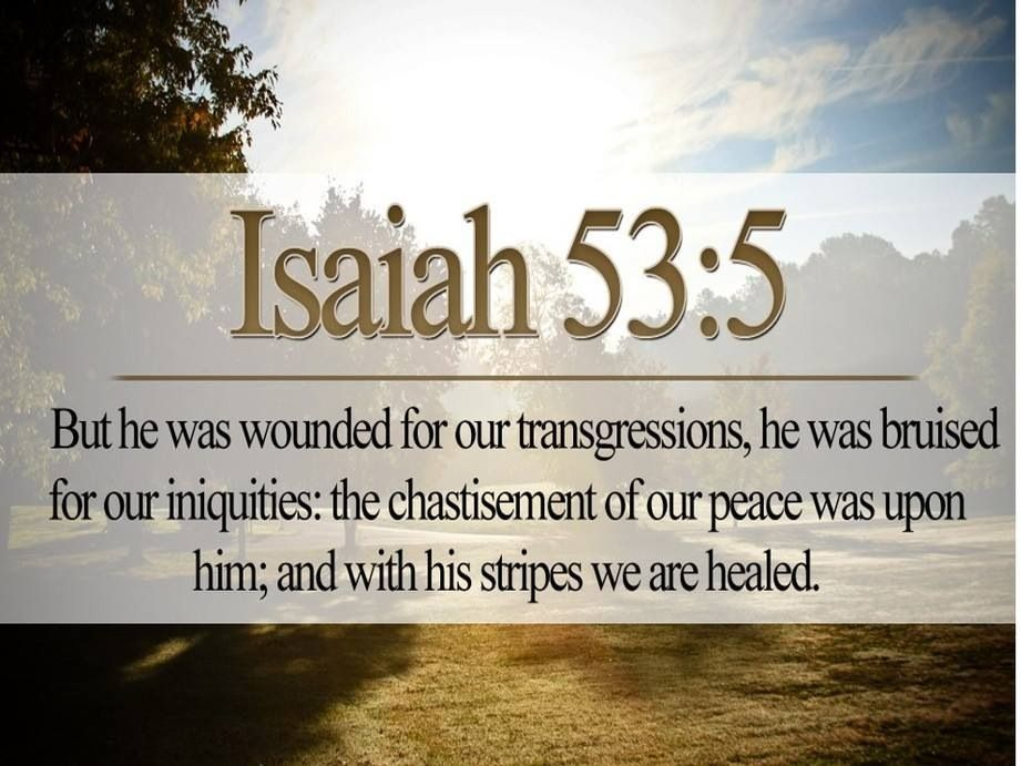"""But He was wounded for our transgressions, He was bruised"