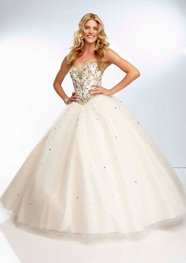 2016 white quinceanera dresses ball gown sweep embroidery beaded ...