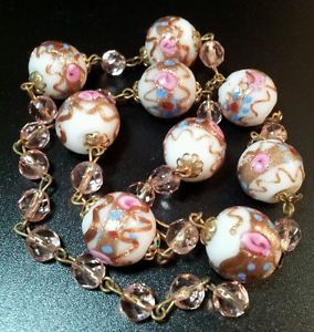 vintage venetian glass gold foil wedding cake bead lampwork pink roses necklace