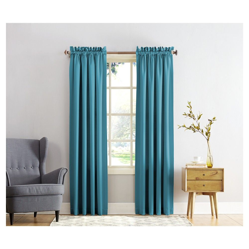 Sun zero seymour energy efficient rod pocket curtain panel black