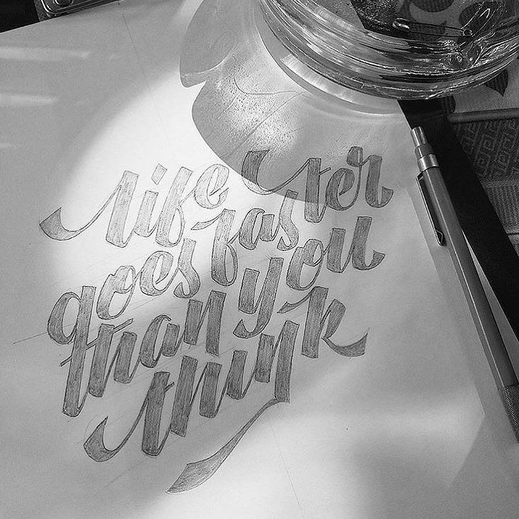 """""""Life Goes Faster Than You Think"""" by @canduaksara  #typespot for a feature! ____ #typography #type #typo #customtype #graphicdesign #script #letters #lettering #handlettering #customlettering #vector ____ #typegang #typecally #typetopia #typematters #thedailytype #strengthinletters #goodtype #ligaturecollective #typespire #typographyinspired #artoftype #designspiration #todaystype #thedesigntip #50words by typespot"""