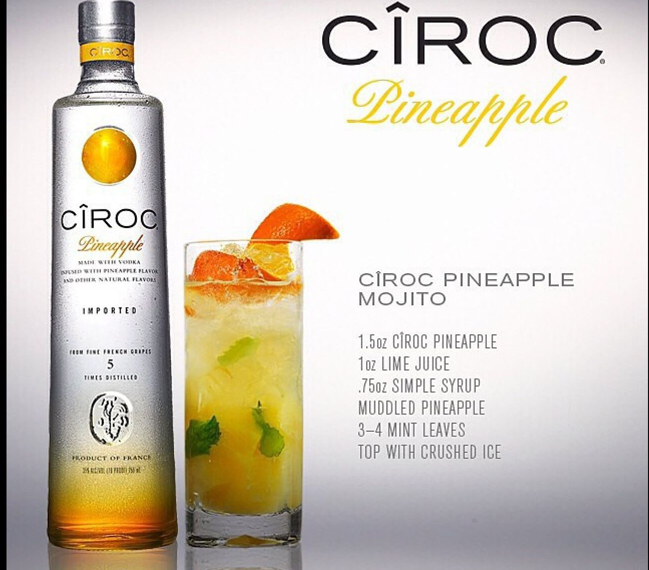 Pineapple mojito ciroc vodka cocktail hour pinterest for Best mixed drinks for a party
