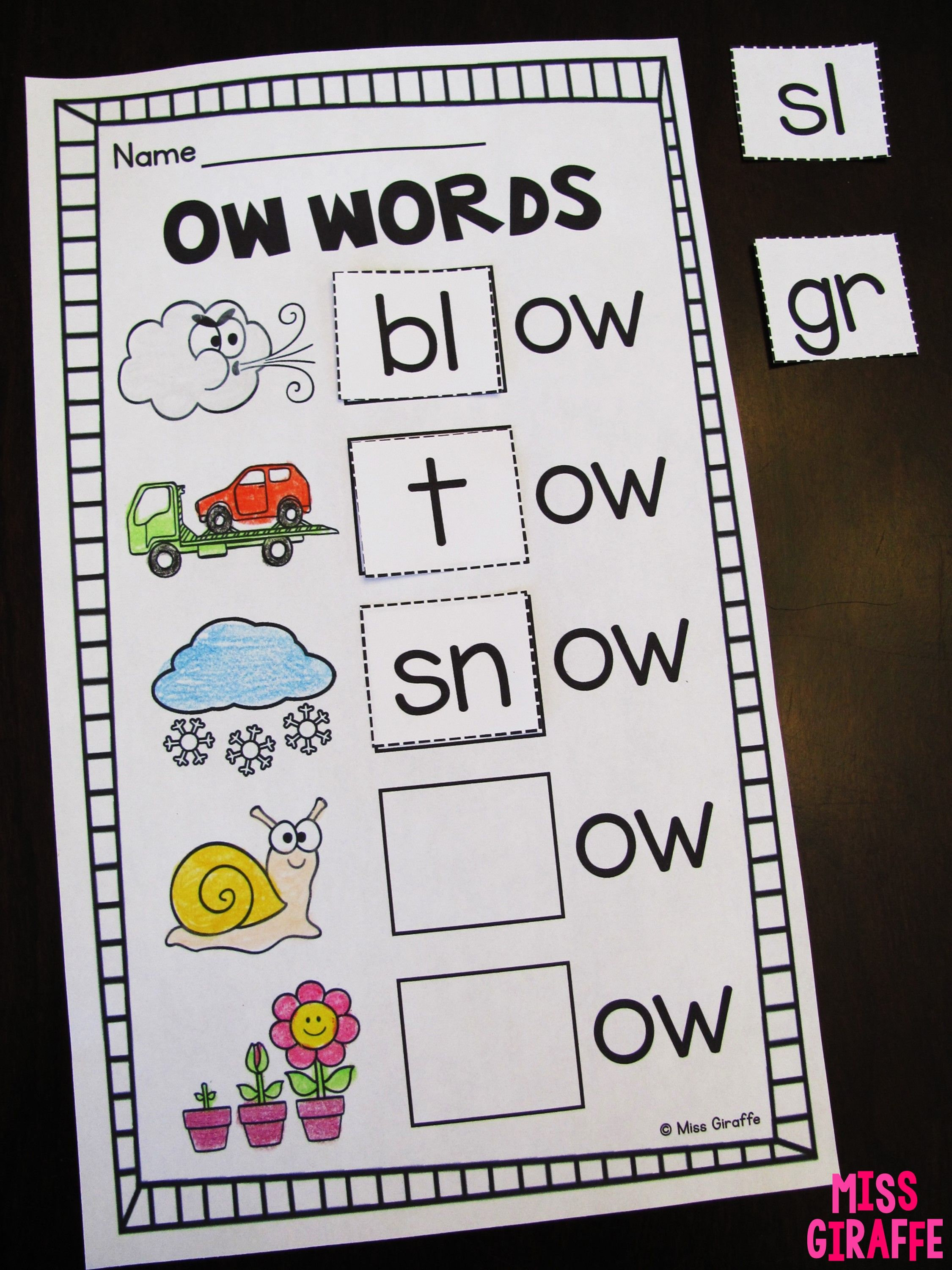 Oa Ow Sound Worksheets And Activities That Are