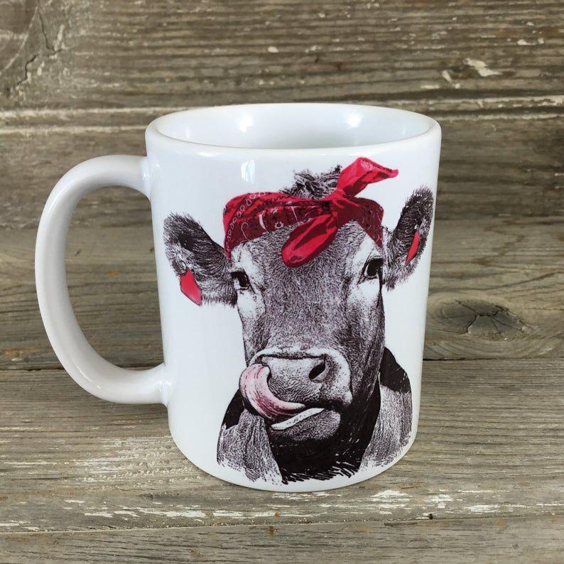 Cow coffee mug funny mug cow with bandana coffee mug