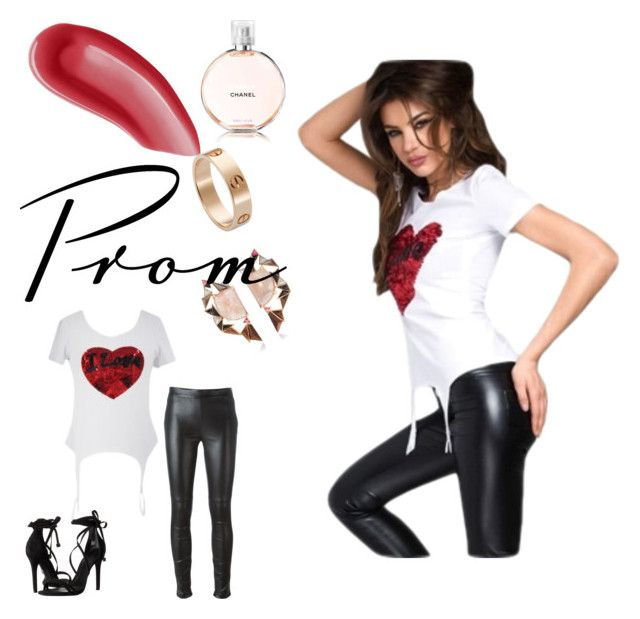 """""""Stunning Sequined Heart White Garter T-shirt"""" by rachel1992 ❤ liked on Polyvore featuring Yves Saint Laurent, Schutz, Givenchy, Cartier, Nak Armstrong and Chanel"""
