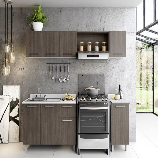 Cocina bertolini toscana 2.40mt color roble dakar | Tarjas de acero ...