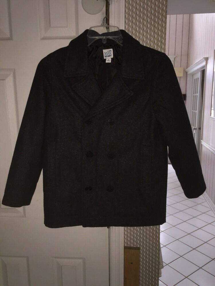 1502e947f Boys Old Navy Charcoal Gray Peacoat Wool Blend Size Large 10 12 EUC ...