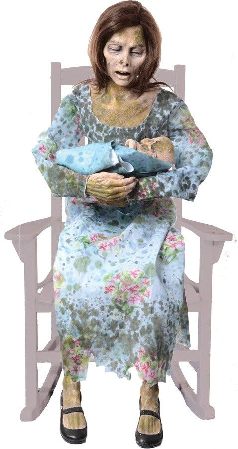 Rocking Moldy Mommy Animated Prop Zombie Halloween Costumes - life size halloween decorations