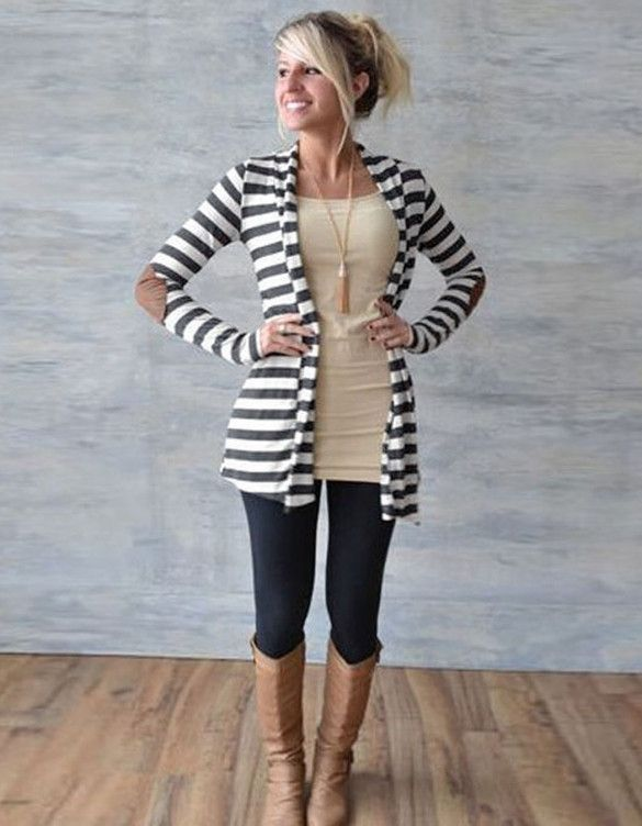 Womens Loose Casual Sweater Cardigan Coat Striped Long Sleeve Jacket Top Autumn