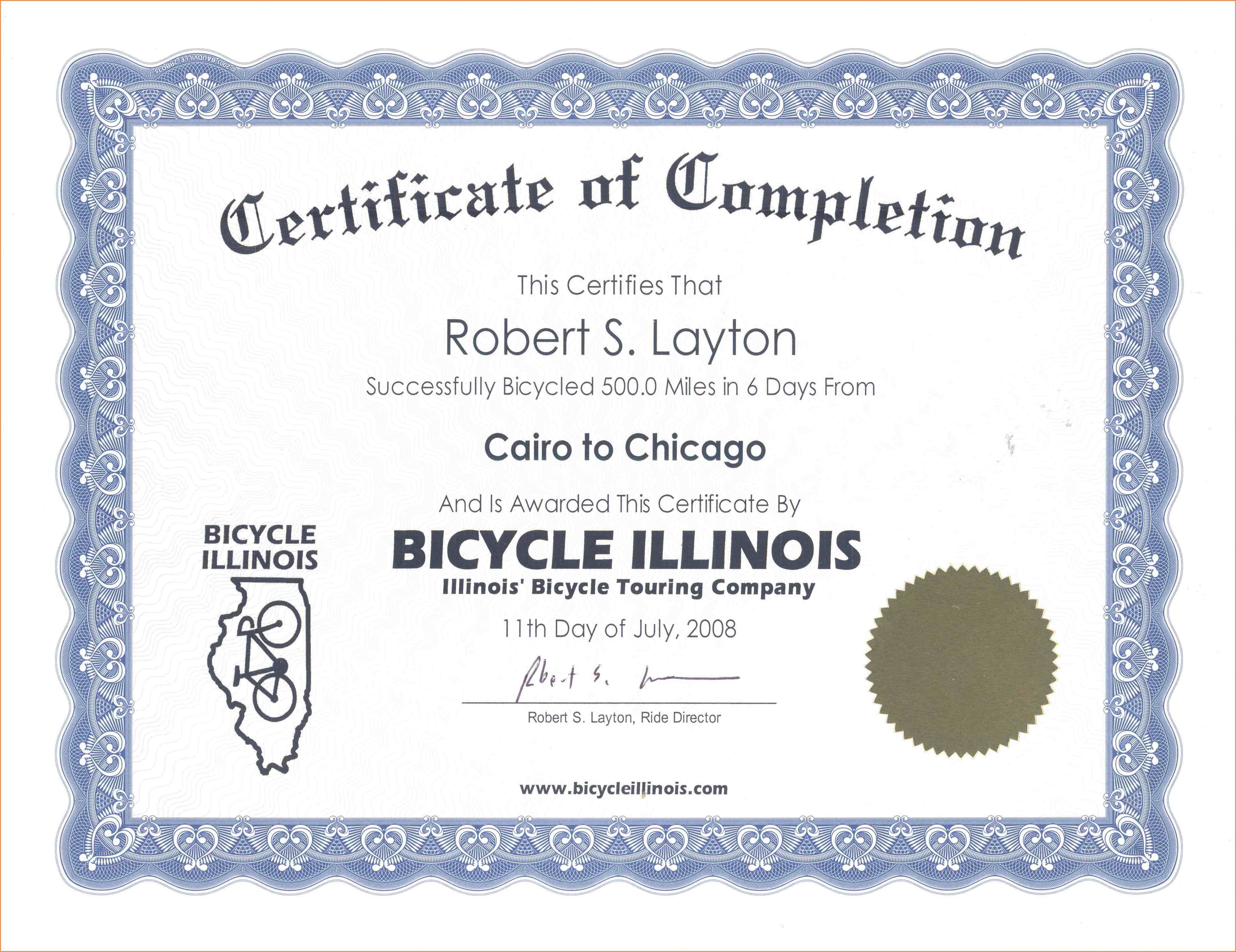 Sample Certificate Of Completion Certificate Of Completion