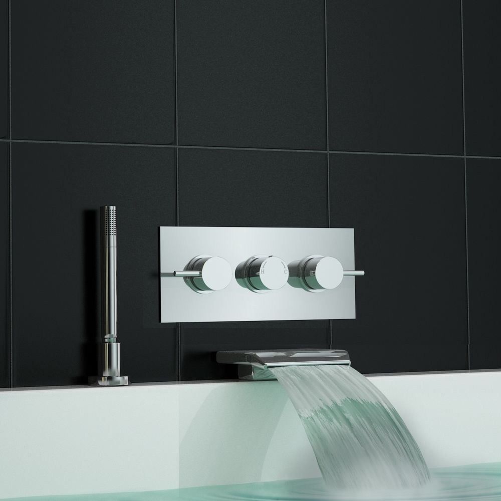 Concealed Wall Mounted Thermostatic Mixer Waterfall Bath Shower Tap ...