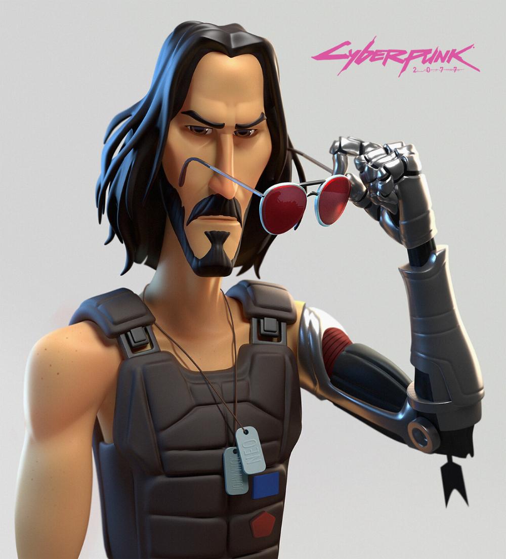 Artstation Keanu Reeves Cyberpunk 2077 Gabriel Soares Cyberpunk 2077 Keanu Reeves Cyberpunk