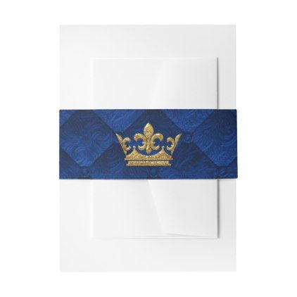 royal blue gold crown storybook wedding invitation belly band