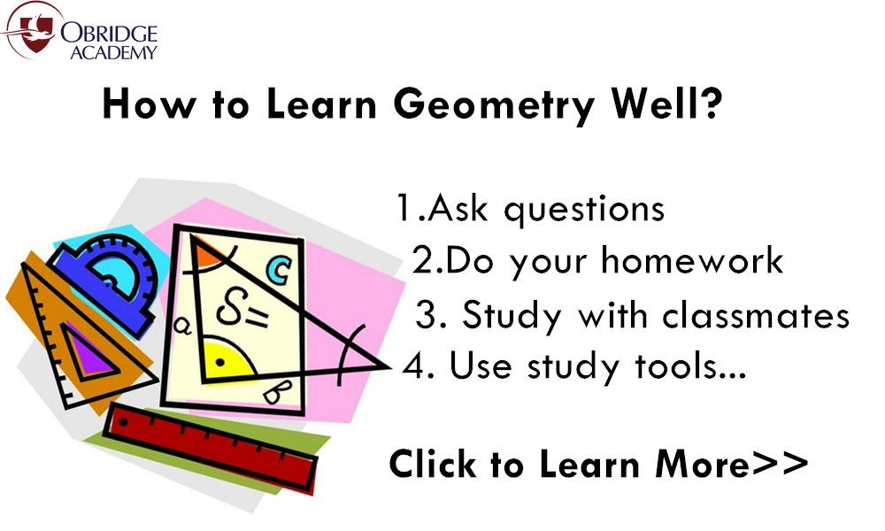 #Geometry is a very challenging subject for many students. Many of the concepts are totally new, and this can make for a very scary experience. Through combining good study habits and a few study pointers, you can succeed in Geometry.