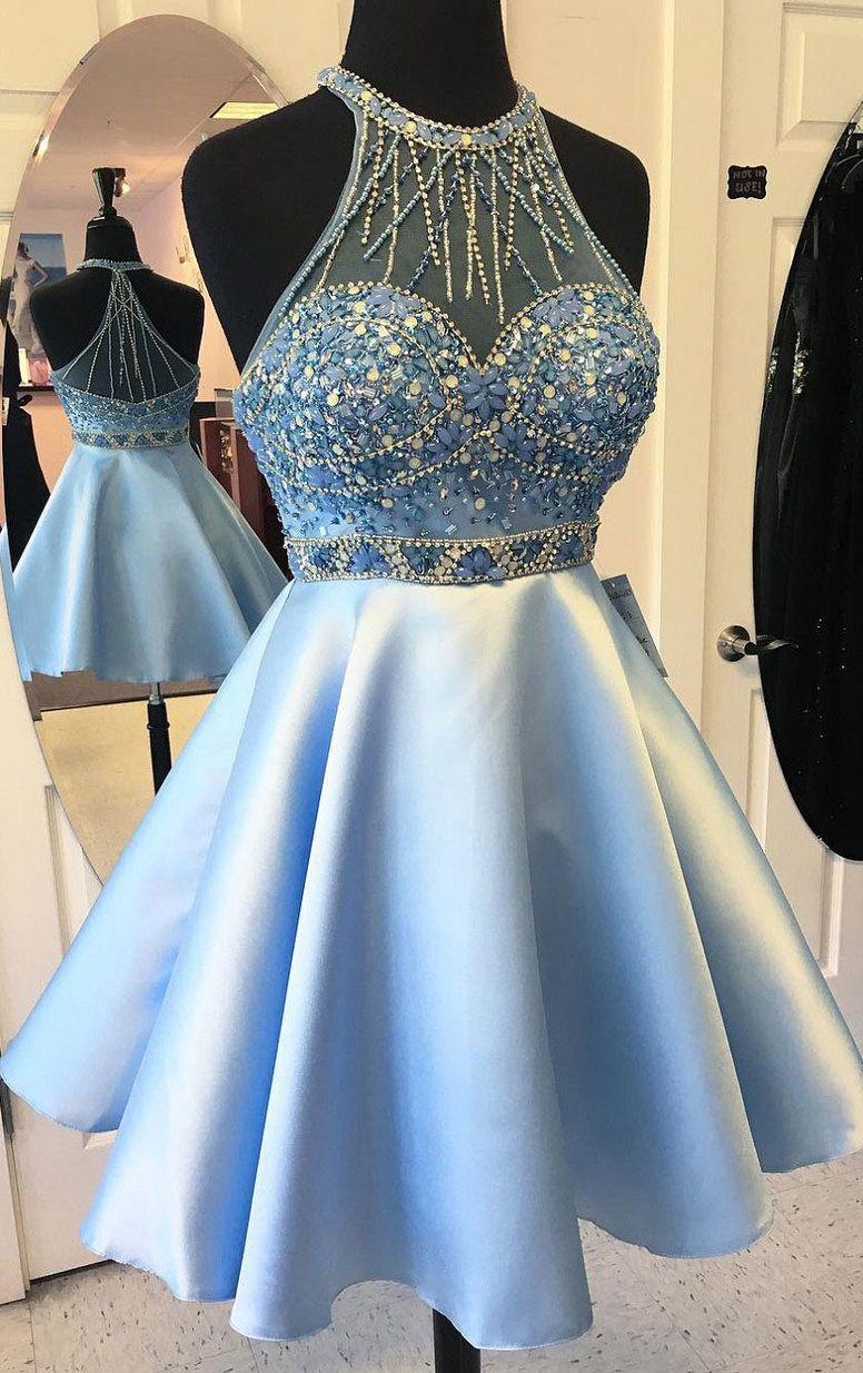 Sleeveless homecoming dresses light blue sleeveless homecoming