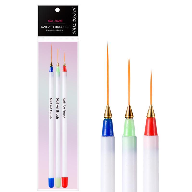 3Pcs Set Drawing Liner Brush Nail Art Tools Painting Flat Striping ...