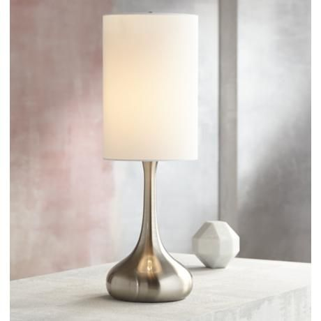 Brushed Nickel Droplet Table Lamp With Cylinder Shade V4325 Lamps Plus Table Lamp Modern Table Lamp Design Contemporary Table Lamps