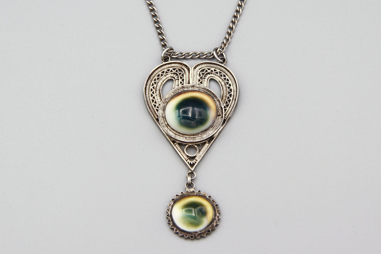 Antique 1910s Victorian Era Operculum Pendant Necklace