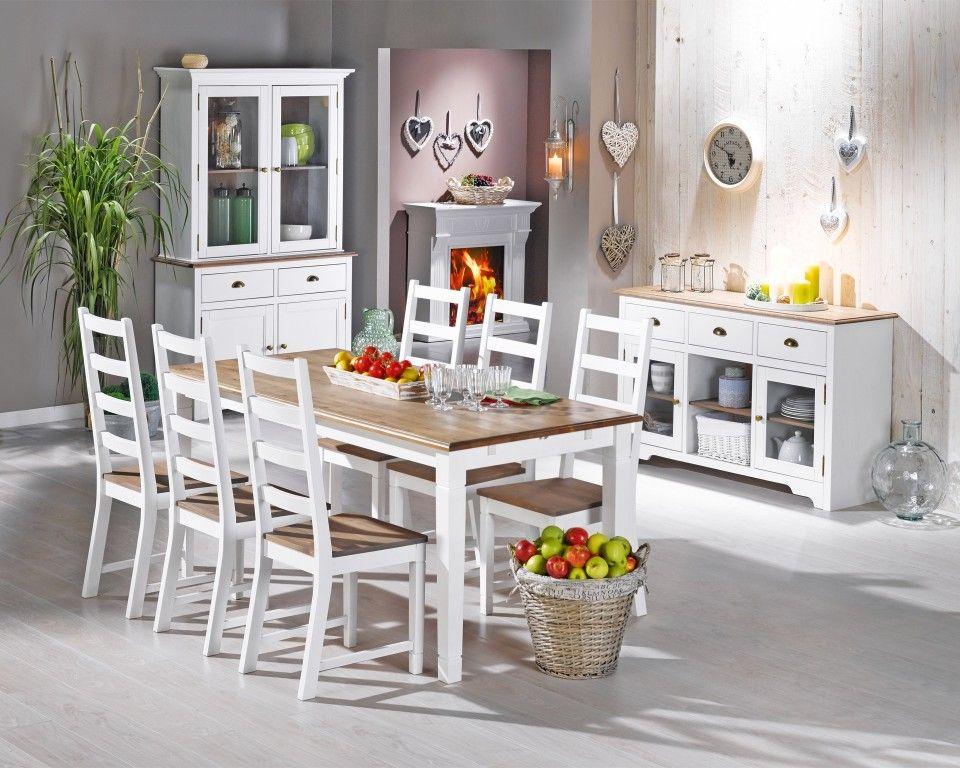 Glas-Anrichte Paris (Kiefer, weiß) - küchen dänisches bettenlager