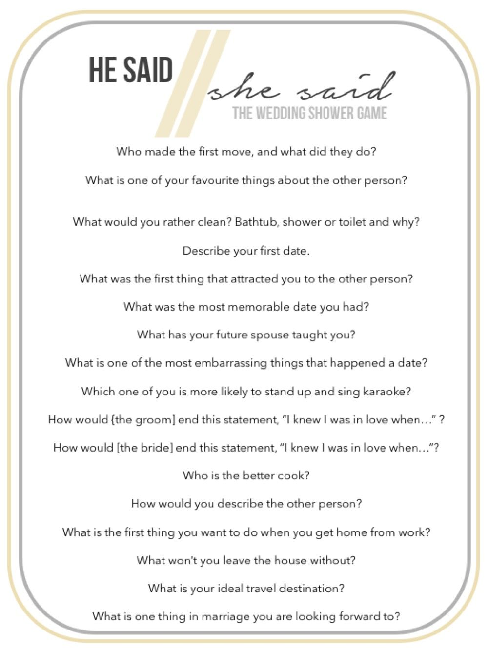 Shower Game: He Said/She Said | The Rossetto Blog | Bridal Showers ...
