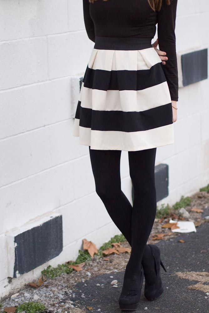 Black And White Striped Skirt And Of Course Tights For Fall