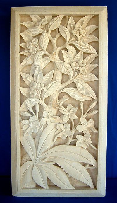 Carved limestone wall plaque balinese inspo wood art stone