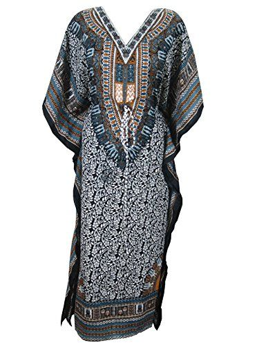 56bbbc4b72 Mogul Womens Boho Kaftan Blue Printed Long Summer Dashiki Dress Traditional Caftan  Mogul Interior http: