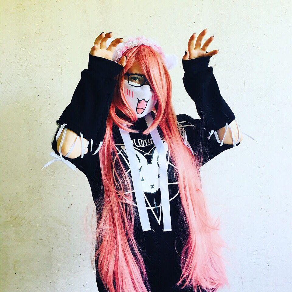 Милая тян Милая девочка Розовые волосы Эмо Мило cute pink hair emo