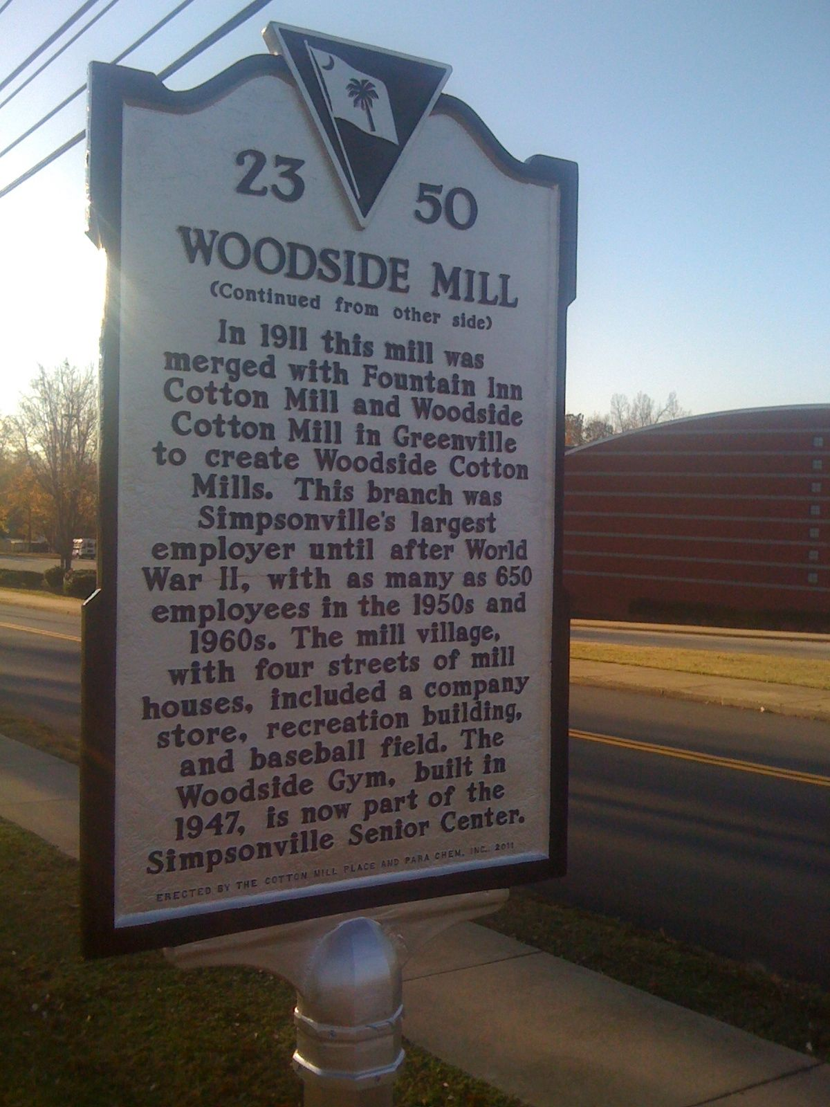 Historic Marker describes the Mill's impact on the city of