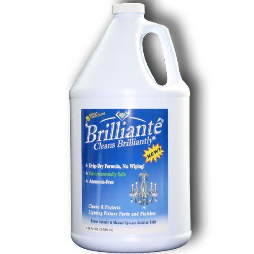 Brilliante Crystal Chandelier Cleaner 1 Gallon Refill Environmentally Safe Ammonia Free Drip Dry Formula Made In Usa By Brilliante Crysta Kitchen Cleaning Supply Storage Cleaning Supplies Household Cleaners