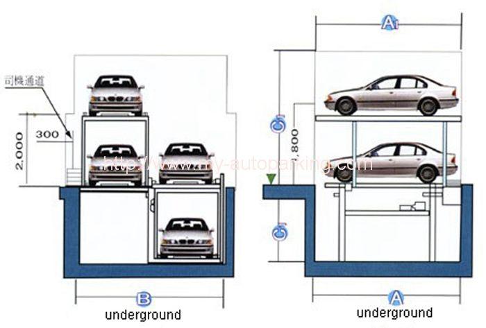 2 3 Levels Garage Car Stacking System Underground Car Parking Lift Pit Parking Mechanical Garage Car Lift Parking Solutions Car Parking