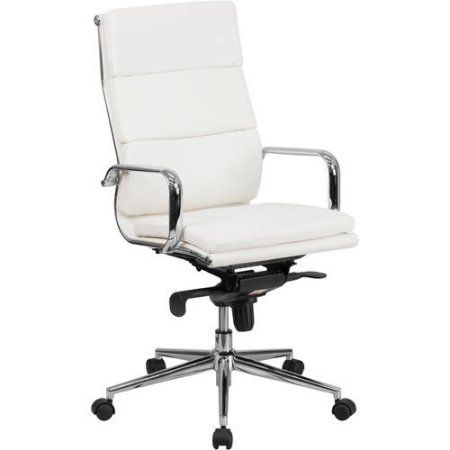 Flash Furniture High Back Leather Executive Swivel Office Chair with Synchro-Tilt Mechanism, Multiple Colors, White