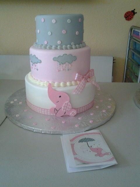 Pink Elephant Baby Shower Cake   CakesDecor