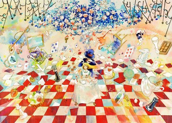 Miyabe Sachi, Alice in Wonderland, Mad Hatter, Alice (Alice in Wonderland), Table, Chess