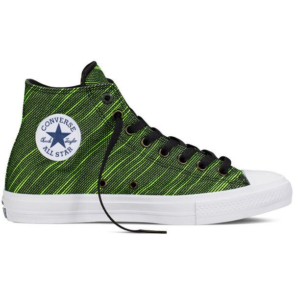 official photos e202a 420b8 Converse Chuck Taylor All Star II Knit – black volt green white ( 80) ❤  liked on Polyvore featuring shoes, sneakers, multi color sneakers, black  shoes, ...
