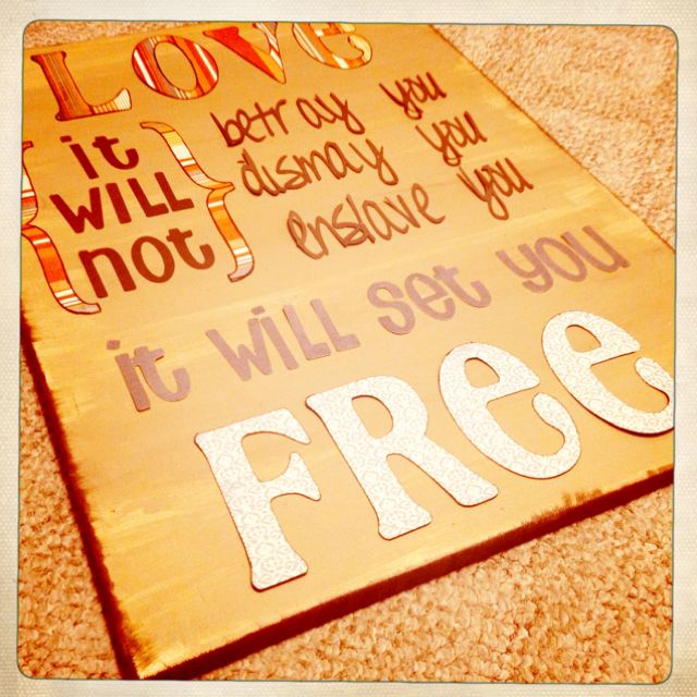 Mumford & Sons lyric on a canvas using scrapbook paper and a cricut ...