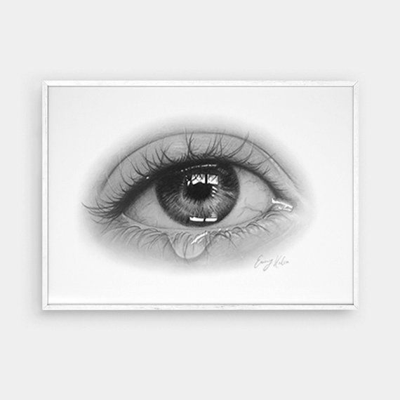Eye tear drawing black and white printable colored pencil art fine art prints
